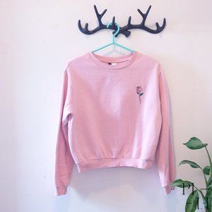 Cute pink sweater with rose embroidery size Small